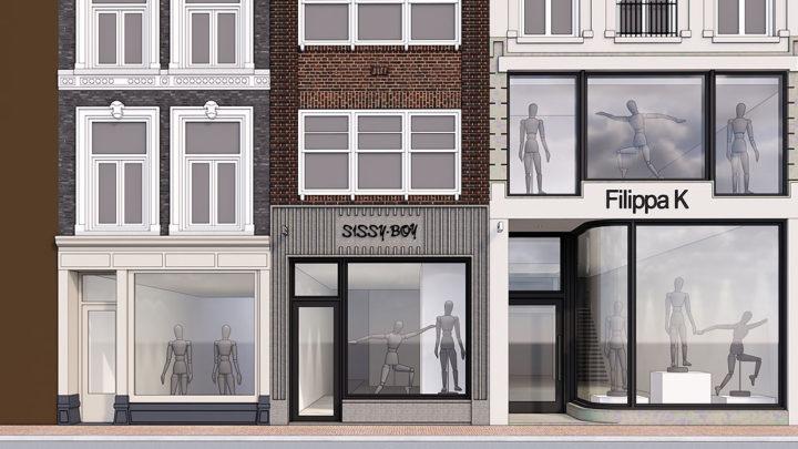 In navolging van het stijlvolle ontwerp van de winkelpui van Filippa K op de Utrechtsestraat, heeft BNLA ook het ontwerp voor de aangrenzende panden gemaakt. Sissy Boy krijgt een volledig nieuwe gevel geheel opgetrokken uit hardstenen ribben en antraciete kozijnen.