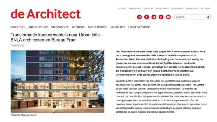 Met de transformatie naar urban lofts zorgt BNLA voor de upgrade van 2 desolate torens. Het project is uniek, omdat het een partiële herbestemming betreft, die het gebouw en de buurt een impuls geeft en qua vormgeving recht doet aan de originele compositie van de gevel.