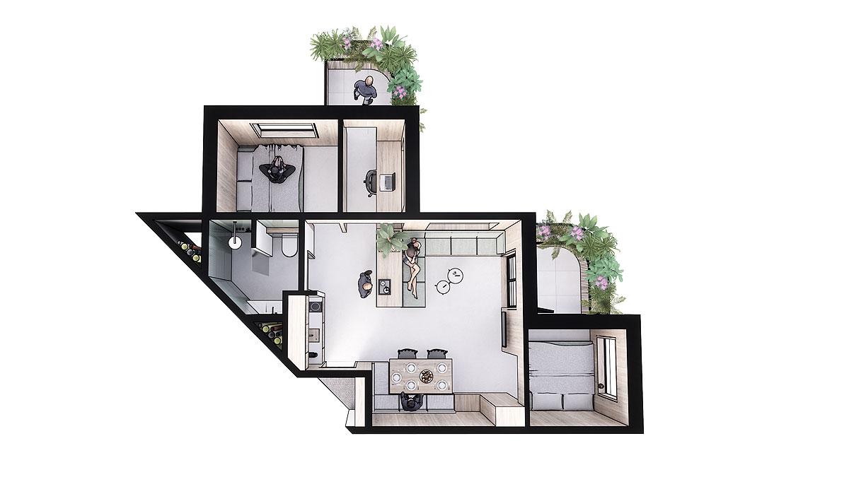 BNLA-architecten-ontwerp-co-living-appartement